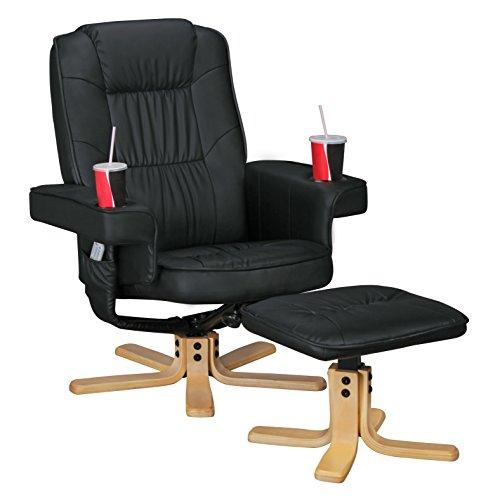 Amstyle Comfort Duo Schwarz Fernsehsessel mit Getränkehalter, TV Sessel drehbar mit Hocker, Relaxsessel aus Kunstleder mit Armlehnen, Stuhl mit Fernbedienungshalter, Sessel mit Handyhalter