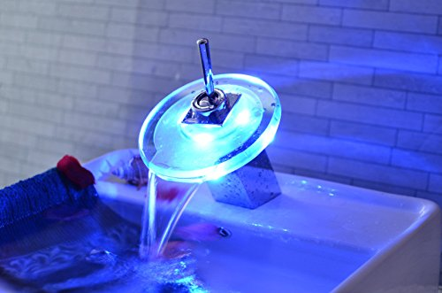 Furesnts moderne Küche zu Hause und Waschbecken Armaturen Der kupferstreifen Licht Badezimmer Waschtisch Glas LED Farbe Tippen Sie auf drei Farben mit Wasser temperatur Waschbecken Armaturen,(Standard G 3/8 universal Schlauch Anschlüsse) (Tippen Led-licht)