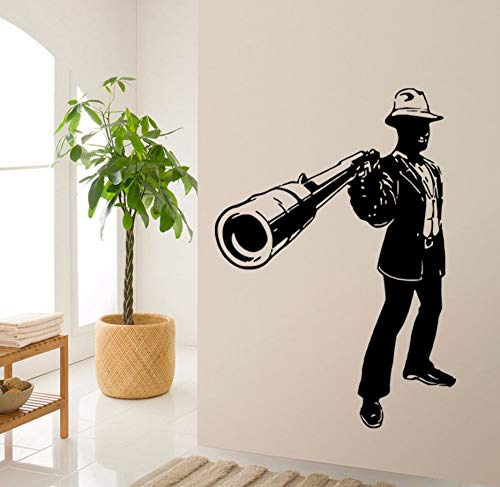 Knncch 3D Männer Mit Waffen Wandaufkleber Neues Design Wand Poster Gun Wandbilder Home Dekoration Vinyl Gun Man Wandtattoos 57X80 ()