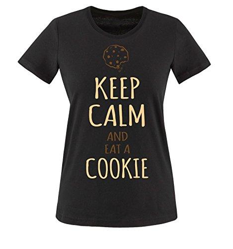 Comedy shirts motif kEEP cALM aND eAT cOOKIE a t-shirt pour femme taille xS-xXL, différentes couleurs Noir - Schwarz / Braun-Beige