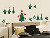 Finloveg Frohe Weihnachten Diy Dekoration Wandaufkleber Lebkuchen Mann Weihnachten Wohnzimmer Glas Wandbild 16X9 Cm
