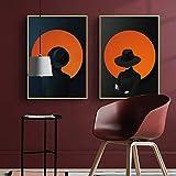 HD Fahsion Cool Girl With Black Hats Pintura de lienzo Impresión nórdica Arte Imágenes de pared para sala de estar Imágenes decorativas modernas C 60 * 90 cm