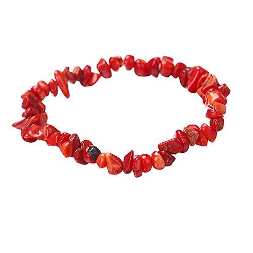 Qiuday Damen Armbänder Universal Mädchen Handgemachte 5-8mm gemischte natürliche Edelstein Chip Perlen dehnbar Armband Heilung Reiki (Jade-chip-armband)