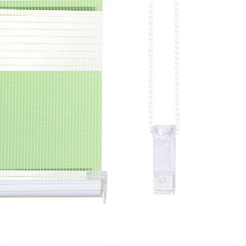 OBdeco Doppelrollo Klemmfix 100x150cm Grün Duo Rollo ohne Bohren mit Klemmträgern Fensterrollo - 6