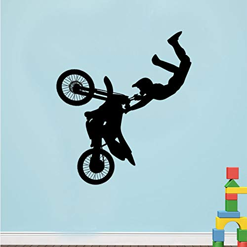 Tribal Bike Wandaufkleber Motorrad Wandtattoos Vinyl Kid Riding Wandkunst Wand Jungen Room Decor Sport Vinyl Wandkunst AY363-96x84cm (Kids-bike-dekorationen)