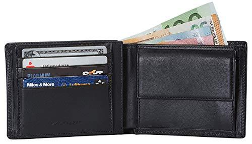 VON HEESEN Geldbeutel Männer mit RFID-Schutz - Made in Europe - 13 Fächer - Leder Geldbörse für Damen & Herren - Portemonnaie Portmonaise Brieftasche Portmonnaie Wallet Portmonee (Schwarz)
