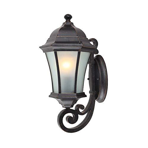 Zhang Ying ZY 1-Light Outdoor Wandleuchte Laterne Leuchte Glas mit Aluminium-Druckguss Schwarzes Finish Garten Außenbeleuchtung Vintage IP55 Außenbeleuchtung (Größe: Höhe 42 cm) - Schwarz Finish, Outdoor-wandleuchte