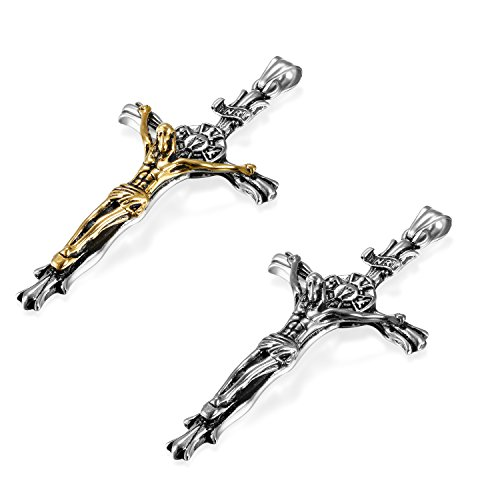 JewelryWe Schmuck 2pcs Herren Anhänger Halskette Edelstahl großer katholischer Jesus Christus INRI Kruzifix Kreuz Anhänger mit 55cm Venezianer Kette Silber Gold