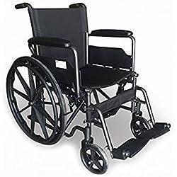 Modelo S220 | Silla de ruedas de acero con asiento de 46 cm | Comodidad y seguridad 100% | Posibilidad de extraer reposapiés y reposabrazos | Bolsillo trasero | Ruedas robustas |