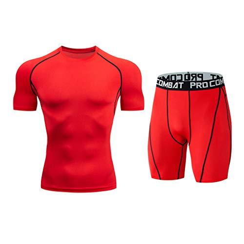 Setsail Herren Casual Modischer Sets Fitness schnell trocknend elastische Kurzarm Kurze Hosen Sportanzug