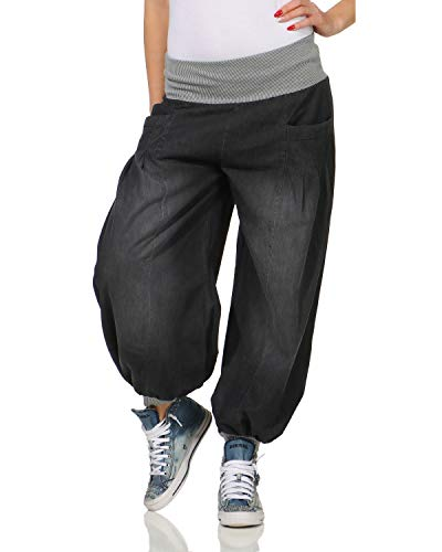Harem Damen Jeans (ZARMEXX Damen Pumphose im Denim Style Jeans Tanzhose Aladinhose zum Chillen Haremshose grau (34-42))