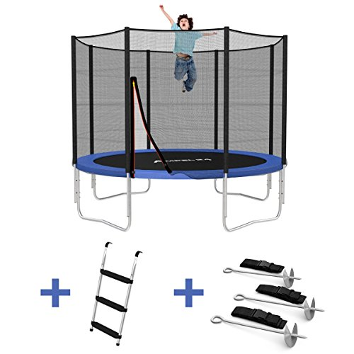 Outdoor Trampolin 305 cm blau mit verstärktem Netz | Gartentrampolin mit Leiter & Windsicherung | Sicherheitsnetz 8 gepolsterte Stangen | Belastbarkeit 150 kg | Gratis Expander
