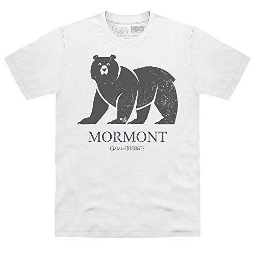 Womens Organic Jersey T-shirt (Official Game of Thrones - House Mormont Organic T-Shirt, Herren, Wei, L)