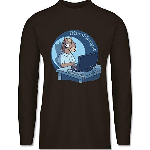 Statement Shirts - BüroHengst - Longsleeve / langärmeliges T-Shirt für Herren Braun