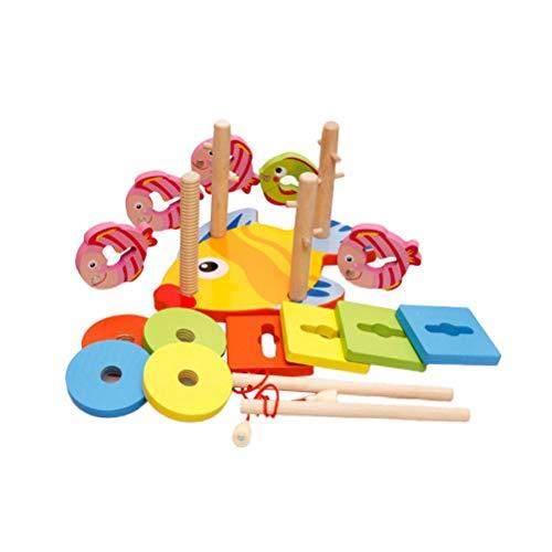 Toyvian Angeln Spielzeug Magnet Steckpuzzle Angelspiel Holz Stacking Block Lernspielzeug Bunten