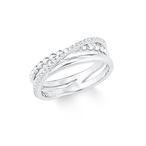 s.Oliver Damen-Ring Sterling Silber 925 Zirkonia (synth.) rhodiniert-Breite 7mm