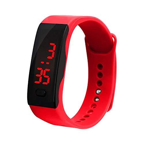 HEATLE Uhr Ansehen 1PC Gute Qualität Led Digitalanzeige-Armband Persönlichkeit Armband Kinder Studenten Silicagel Sportuhr (1PC, rot)