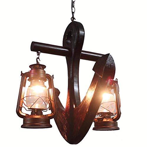 ZHANG NAN ● Mediterrane Holz Anker Restaurant Decke Pendelleuchten Kreative Bar Counter Club Glas Lampenschirm Metall Pendelleuchte Europäische Laterne Balkon Hängen Beleuchtungskörper ● -