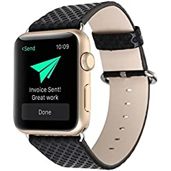 For Apple Watch Band, Fulltime(TM) Luxury Leather Canvas Watch Band Wrist strap For Apple Watch 38 42 mm