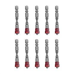 Fdit Magnetischer Schraubendreher, 10 Stück, 1/4 Zoll, HexaDezimal PH2 Bits, Elektroschrauben, mit geringem Werkzeug Aimant Rouge