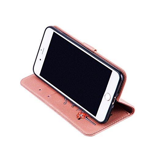 Custodia per iphone 8 plus 5.5, iphone 7 plus Custodia Pelle, Cover iphone 8 plus, Ekakashop Lusso Moda Glitter Sparkle Fiore e Tacchi alti Modello Disegno Design Portafoglio Bookstyle Folding Flip Co Oro
