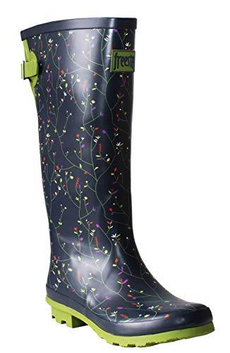 Freestep Womens Ladies Extra Wide Calf Adjustable Waterproof Rubber Festival Rain Mud Snow Girls Wellington Boots Wellies UK 3-8