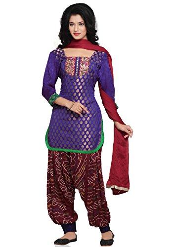 Utsav Fashion Plain Straight Cut Chanderi Brocade Suit in Purple Colour