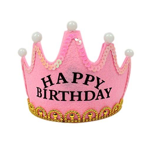 Nicky Rosa Happy Birthday Krone mit LED Geburtstag Prinz Prinzessin Haarreif Kopfschmuck Leuchtend Geburtstagsfeier Party Königskrone für Kinder Erwachsene