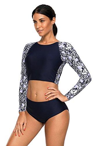 Damen Rash Guard Bademode Sets Sport Badeanzug Langarm UV-Schutz Ausschlag Garde, Erwachsene Tankini für Schwimmen, Surfen, Tauchen,Small,  Lc479