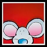 Art-Galerie Bild mit Rahmen Jean Paul Courtsey - Mouse - Holz Schwarz, 30 x 30cm - Premiumqualität - Kinderwelten, Comic, Maus, Kinderzimmer, Kindergarten, Hort - Made in Germany SHOPde