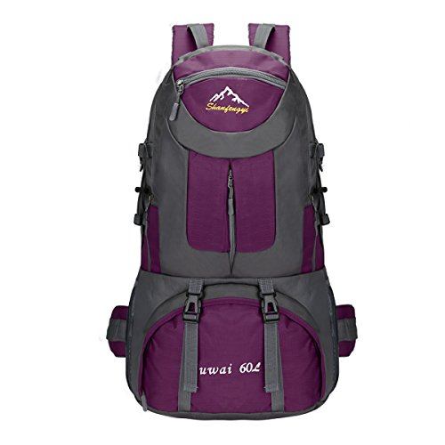 60L Große Kapazität Outdoor Sport Bergsteigen Tasche Wasserdicht Reise Tasche Purple