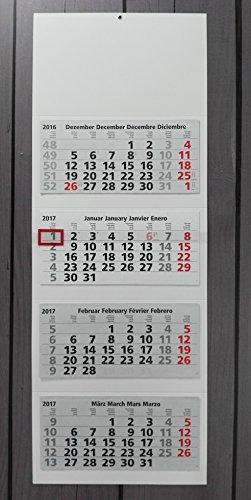 4-Calendario Calendario Da Muro XL 2017-Blank mese per intercambiabile, calendario da parete, 4mesi/mese a colpo d' occhio, 33x 90cm 4mese Calendario