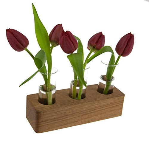 Blumenvase mit Reagenzglas aus Holz | Design Vase Glas Blume Blumen Ständer Massivholz | klein modern als Tischdeko Deko Dekoration Geschenk Gestell Natur Tischvase (Eiche - 18cm - 3er) (Moderne Vase Und Geschenk)