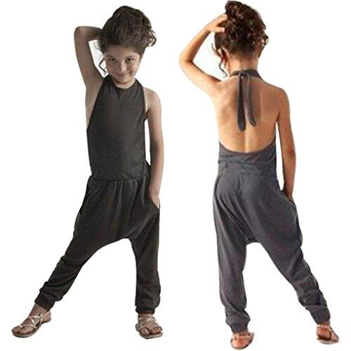 PINEsong Kleinkind Kinder Baby Mädchen Strap Spielanzug Overall Haremshose Outfits Kleidung (Grau, 5T) (Rock Floral Blase)