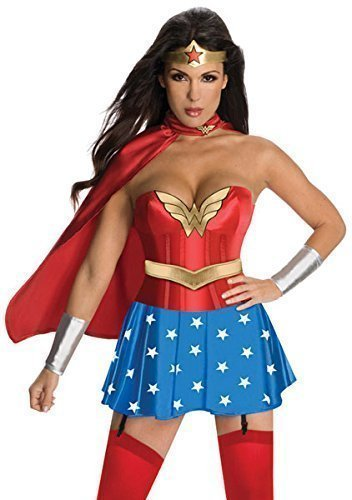 Damen offiziell lizenziert Deluxe 6- teiliges Sexy Wonder Woman Superheld Korsett Helden & Villains Party Kostüm Outfit 6-18 - Rot, Rot, UK 12-14 (Woman Gürtel Wonder Kostüm)