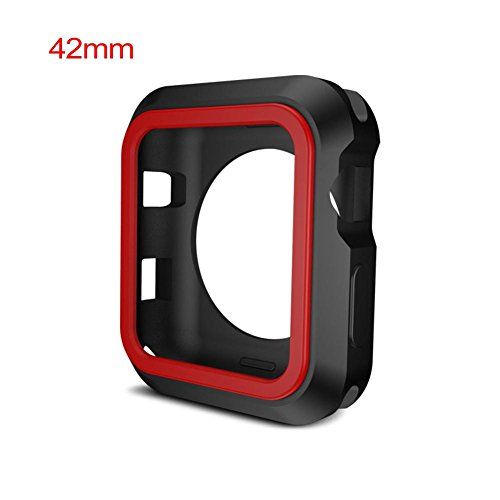 Househome Doppeltes Farben-Silikon-schützender Kasten-Silikon-Rahmen schützen Fall für Apple-Uhr iWatch 38mm 42mm 1/2/3 Reihen-Uhr-Zusätze