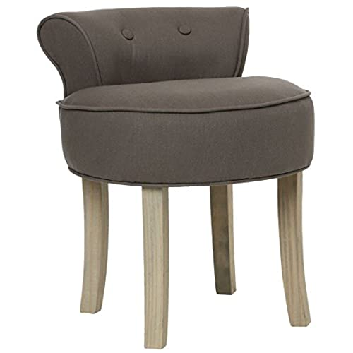 Vanity Stool   LINEN And COTTON   Colour GREY TAUPE