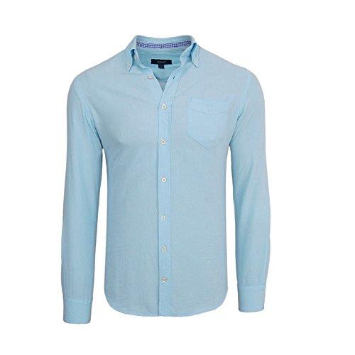 Gant-Camicia da uomo-a maniche lunghe-Oxford-Slim Fit-azzurro Hellblau L