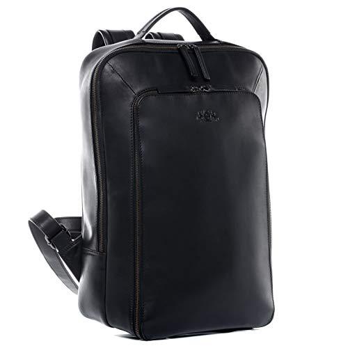 SID & VAIN Laptoprucksack Leder Dylan groß Kurierrucksack Unisex 15 Zoll Laptop Backpack Tagesrucksack bis zu 15,6 Zoll Ledertasche schwarz