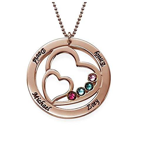 Stein-sockel Top (Yanday Männer und Frauen benutzerdefinierte Herz Geburt Stein Namen Halskette personalisierte herzförmige Halskette(Rose-vergoldeter Sockel 16))