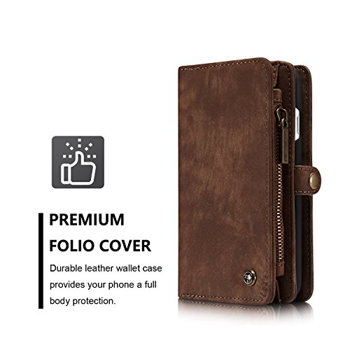 SDDMALL CaseMe Ultimate Functional All-In-One Handgefertigte TRIFOLD LEATHER Abnehmbare IPhone Brieftasche Elegant Finish Case Cover Für IPhone 7 ( Color : Black ) Coffe