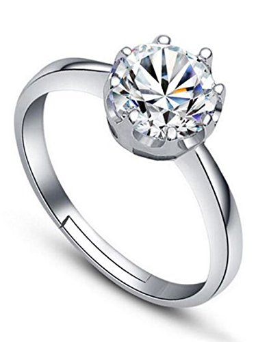 Karatcart Platinum Plated Austrian Crystal Adjustable Ring For Women