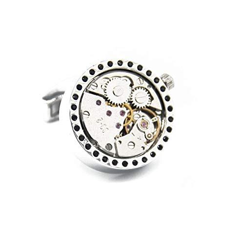 THNSIOE Nicht-funktionale Golduhr-Bewegungs-Manschettenknöpfe für die Marken-Manschettenknöpfe der Männer Steampunk Gang-unbewegliche Uhr-ManschettenknöpfeRhodium überzogen