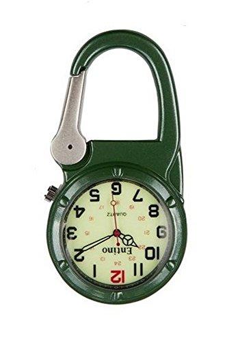Entino-Marken-Silber-Clip auf grünem Karabiner-leuchtendes Gesicht Starke FOB-Uhr Ärzte Krankenschwestern Sanitäter-Köche Militär Stil