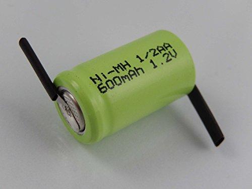 vhbw 1/2AA NI-MH Akku-Zelle 600mAh (1.2V) Z-Lötfahne für Modellbau, Solarleuchten, Telefon, etc.