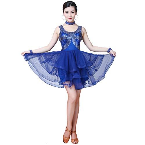 Magogo Latin Dance Kleid Pailletten Prom Kostüm Great Gatsby Karneval Motto Party Rock Club Dancewear (XL, (Rock Motto Kostüme)
