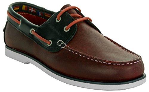 Beppi Herren Lederschuhe   Schuhe Bequem Weich Rot-Schwarz   Business-Schuhe Made in Portugal   Männer Bootsschuhe Lederhalbschuhe   Größe: 45