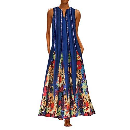WUDUBE Robe de Soirée Longue Ceremonie Femme Bohème Kaftan Robe Longue Maxi Coton Col V sans Manches Imprimé Floral Tunique Robe Vrac