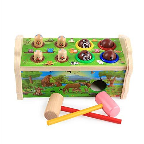 ZHAOHUIFANG Hammering Holz Ball Hammer Box Hamster Kinder Früherziehung Bildung Intelligenz Spielzeug 4-7 Jahre Alt Größe 24 * 15.5 * 12CM,Green (Größe Hamster Kind Ball)