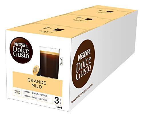 NESCAFÉ Dolce Gusto Grande Mild 48 Kaffeekapseln (100% Arabica Bohnen, Mildes Aroma und feine Crema, Leicht bekömmlich, Aromaversiegelte Kapseln) 3er Pack (3 x 16 Kapseln)
